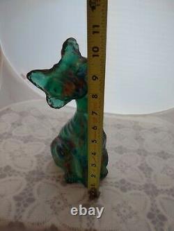 Fenton Emerald Green Iridized Carnival Iridescent Alley Cat 11H