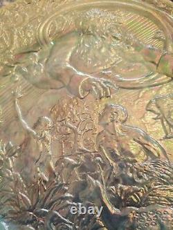 Fenton GARDEN OF EDEN Carnival Glass PLATE opalescent