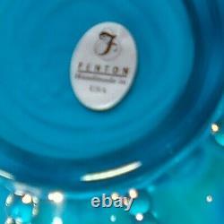 Fenton Glass Cased Iridescent Turquoise Blue & White Melon Vase Pitcher