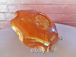 Fenton Glass Iridescent Marigold Carnival Dragon & Lotus Ruffled 9 Bowl