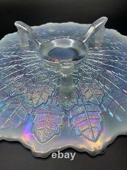 Fenton Glass Leaf Tiers Cake Stand White Carnival Opalescent with Orig. Label
