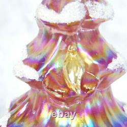 Fenton Glass TREE Iridescent Pink Snow Flocked 6.5 Carnival Gold Partridge Bird