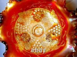 Fenton Grape And Cable Iridescent Marigold Carnival Glass Bowl