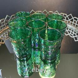 Fenton Green Carnival Iridescent Apple Pitcher 8 Tumblers Vintage Glass #164