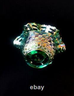 Fenton Green Glass Basket Handle Open Edge Carnival Iridescent Weave Art Decor