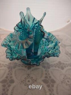 Fenton Hobnail Teal Turquoise Azure Iridescent Carnival Blue 4PC Epergne
