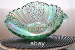 Fenton Iridescent Daisy & Button Oval Bowl Green NIB
