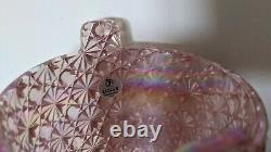 Fenton Iridescent Pink Daisy and Button Dish with Lid- Carnival glass withsticker