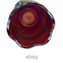 Fenton Koi Fish Atlantis Vase Plum Opalescent Carnival Glass 6.5 Vtg Art Glass