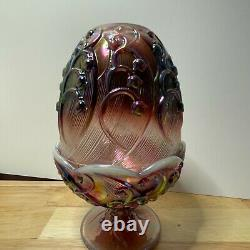 Fenton Lily of the Valley Fairy Lamp Plum Opalescent Iridescent Glass Vintage