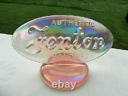 Fenton Logo Dealer Display Pink Carnival Iridescent Glass Oval Sign 5L x 2.75H