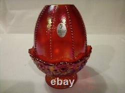 Fenton Orange Red Iridescent Daisy Beaded Fairy Lamp