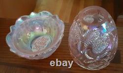 Fenton Pink Carnival Iridescent Glass Strawberry Patten Imprint 2p Fairy Light