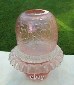 Fenton Pink Iridescent Persian Medallion Embossed 3/pc. Fairy Lamp Gorgeous 7H