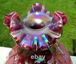 Fenton Plum Opalescent Carnival Swans & Cattails Glass Vase 8H x 7W