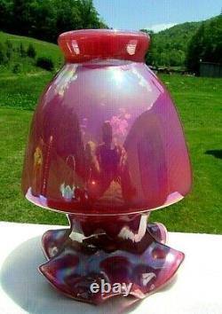 Fenton Plum Raspberry Carnival Opalescent Glass Vase 7.5H Rare 1990's