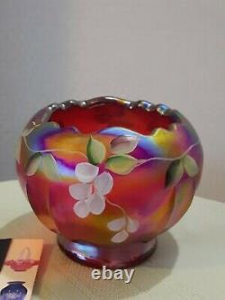 Fenton ROSE BOWL Hand Painted Cherry Chain On Red Iridescent Carnival Signed
