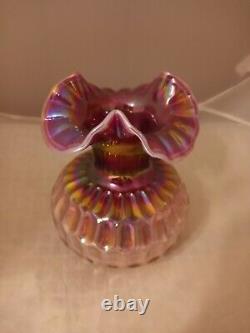 Fenton Raspberry Plum Carnival Opalescent Glass Thumbprint Vase 7.5H Rare
