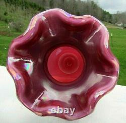 Fenton Raspberry Plum Carnival Opalescent Glass Vase 7.5H Rare