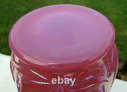 Fenton Raspberry Plum Opalescent Carnival Glass Daffodil Vase 8H x 6.25W HTF