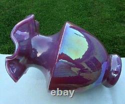 Fenton Raspberry Plum Opalescent Carnival Glass Vase 7.5H Rare