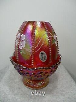 Fenton Red Iridescent Glass Hand Painted Flowers Beaded Fairy Lamp Light