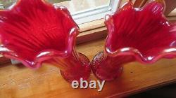 Fenton Red Iridescent Vase. 2