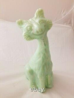 Fenton Sea Green Iridescent Irridized Alley Cat Undecorated Carnival