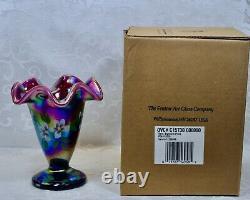 Fenton, Vase, Plum Carnival Opalescent Glass, Family Signature Series
