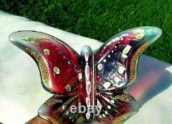 Fenton Vintage 1990's Plum Opalescent & Iridized HP Butterfly Rare HTF