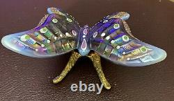 Fenton Vintage 1990's Plum Opalescent & Iridized HP Butterfly Rare HTF BOX Stand
