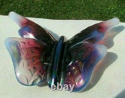 Fenton Vintage Plum Opalescent & Iridized Butterfly Rare HTF