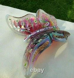Fenton Vintage Plum Opalescent & Iridized HP Butterfly Rare HTF