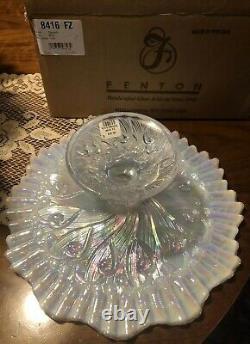 Fenton White Carnival Opalescent Glass Cake Plate 2001 Nib