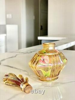 Fenton Yellow Amber Opalescent Hand Painted & Signed Perfume Bottle with Stopper