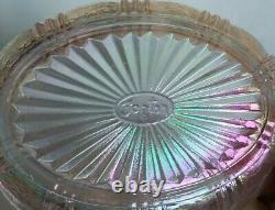 Fenton opalescent pink iridescent covered hen on nest chicken dish glass MARKED