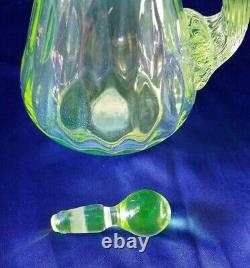 Gibson Art Glass Hand Made Vaseline Opalescent Carnival Hanging Hearts Cruet 7