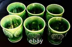 Green Opalescent Carnival Glass Beaded Shell Pitcher & 6 Tumblers Vintage Mosser