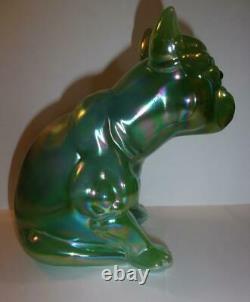 Green Opalescent Carnival Glass French Bulldog Doorstop Westmoreland Mold 79/125