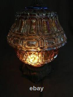 Hollywood Regency Table Lamp Opalescent Lustre Carnival Glass & Brass 36