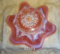 Huge Deep Ruffled Dugan SKI STAR Peach Opalescent Carnival Glass Bowl