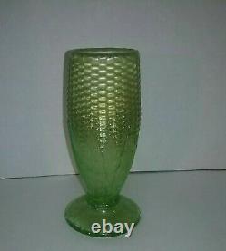 Ice Light Lime Green Iridescent Carnival Glass Corn Vase Stalk Base Northwood