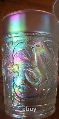 Imperial Carnival Glass Bird Pitcher Iridescent White Lovely Lemonade Set 6 cups