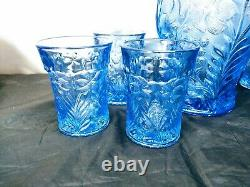 Imperial Lenox Lemonade Water Set Blue Tiger Lily Iridescent Carnival Glass