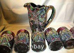 Imperial Vintage Carnival Glass Purple Iridescent Pitcher 6 Tumblers