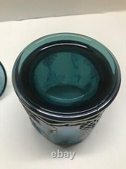 Indiana Blue Grape Harvest Carnival Glass Candy Dish Canister Iridescent Withlid