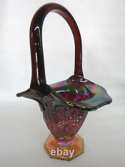 Indiana Carnival Glass Heirloom Red Sunset Iridescent Bridal Basket Vase 351B