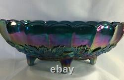 Indiana Harvest Grape Iridescent Blue Oval Footed Fruit Bowl Carnival Glass 12