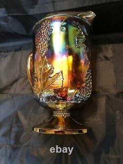 Indiana Iridescent Carnival Glass Blue Harvest Grape Large Footed Glass Pitcher