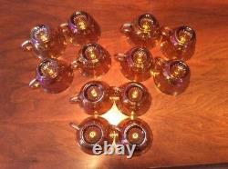 Indiana Iridescent Gold Carnival Glass Princess Grape & Leaf Punch Bowl Set